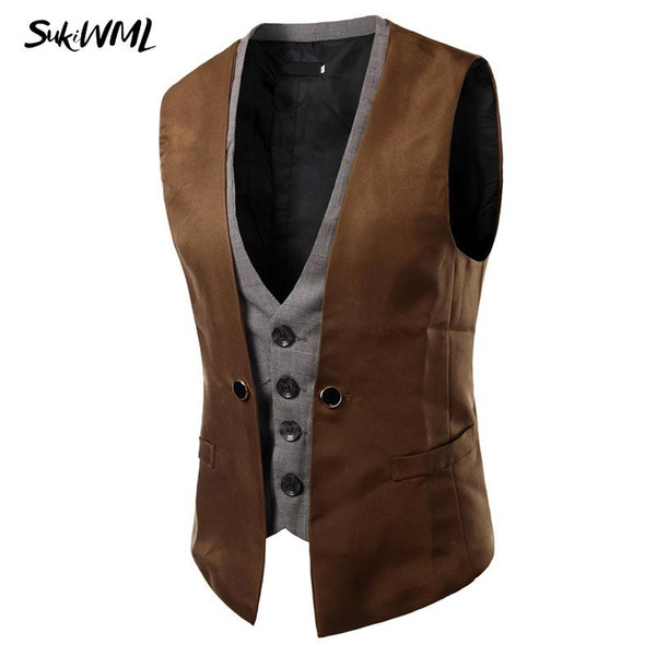 New Men Vest Wedding Slim Fit Faker Two Pieces Colete Social Masculino Mens Double Vest Party Gilet Costume Homme Waistcoat Vests