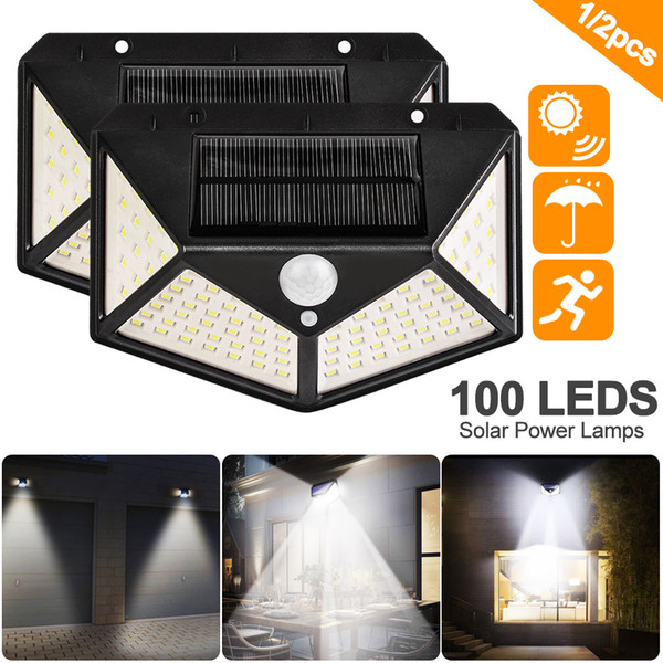 best selling Umlight1688 100 LED Four-Sided Solar Power Light 3 Modes 120 Degree Angle Motion Sensor Wall Lamp Outdoor Waterproof Yard Garden Lamps