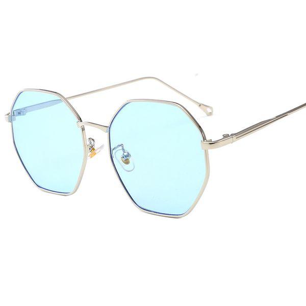 2019 new fashion sunglasses female metal polygonal large box ocean color lens sunglasses glasses