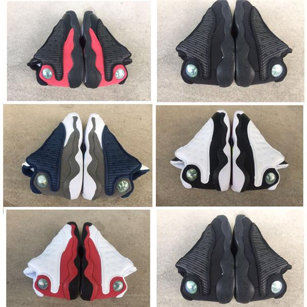 With Box 2019 13s Black Cats Toddler sneakers bred Flint Kids Basketball Shoes Infant 13 big boy Girl Children Trainers chaussures enfants