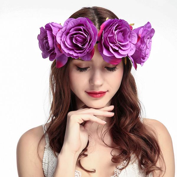 Bandeaux Fleur Couronne pour femmes de mariée mariage Coiffe florale de rose Serre-têtes Filles Accessoires cheveux Guirlandes