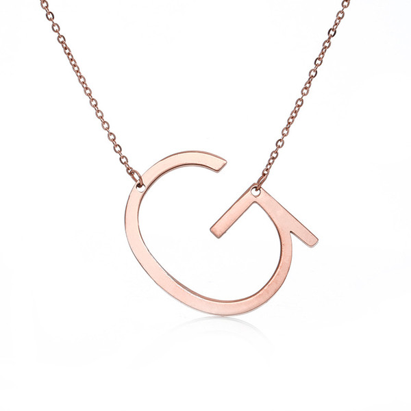Moda Yeni Paslanmaz Çelik A-Z İngilizce Mektup Kolye Gümüş Altın Kaplama Sermaye Alfabe İlk Kolye Kolye Kadınlar Takı Hediye için