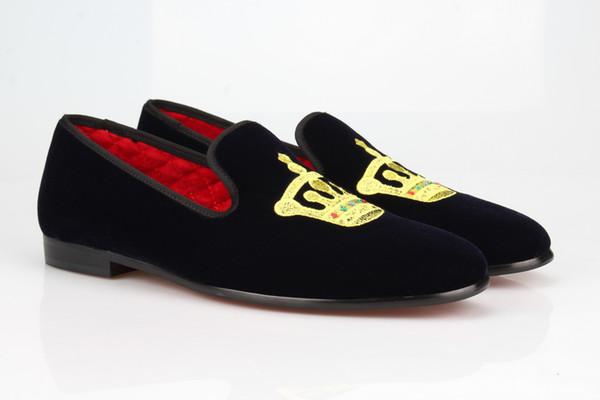 Синий Бархат Вышитые Корона Мокасины Мужчины Тапочки Свадебное Платье Обувь Квартиры Повседневная Обувь