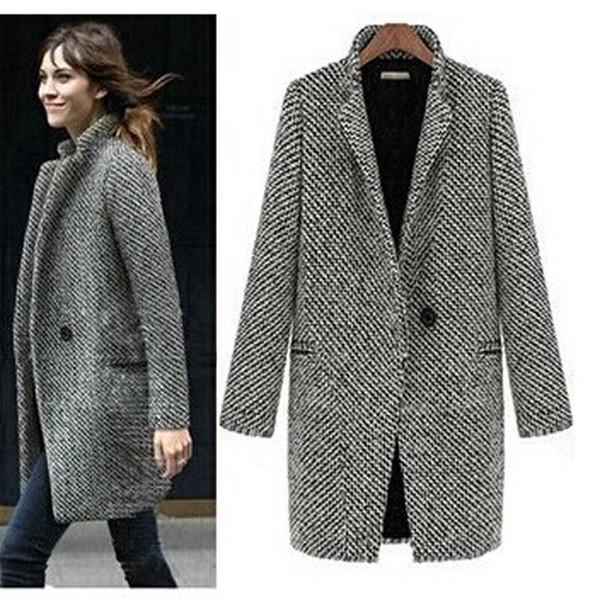 Yeni 2018 Tasarım Yeni İlkbahar / Kış Kadın Coat Gri Yün Ceket Uzun Marka Yün Coat Palto Lady Dış Giyim