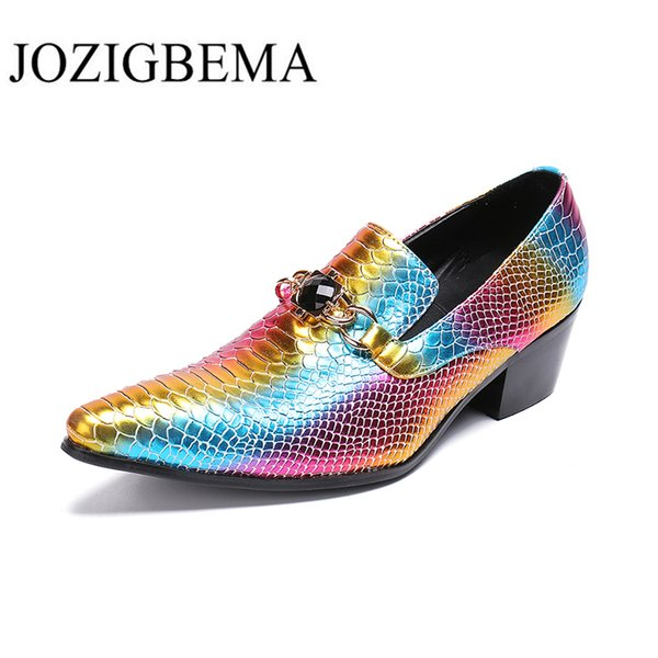 Moda de Couro Genuíno de Cobra Dedo Apontado Multicolor Vestido Sapatos de Casamento Italiano Sapatos Formais Homens Impressão Oxford Flats