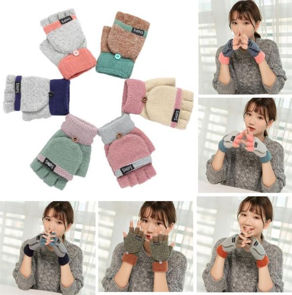 Ladies Half Finger Gloves Female Autumn Winter Korean Style Fashion Patchwork Warm Fingerless Cute Gloves