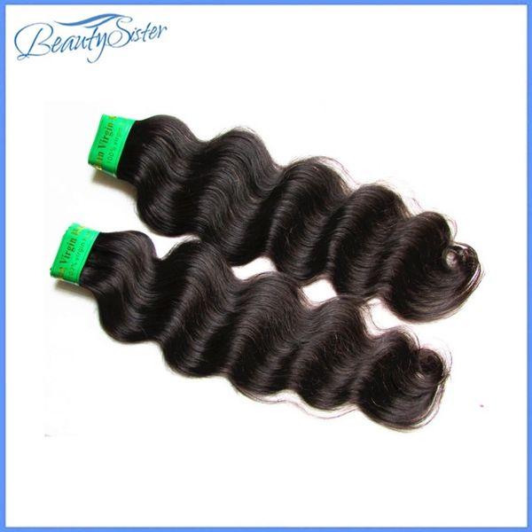 estensioni dei capelli umani beautysister capelli indiani vergini remy tesse 2 fasci 200 g lotto 9a india onda del corpo colore naturale 100 g / pz