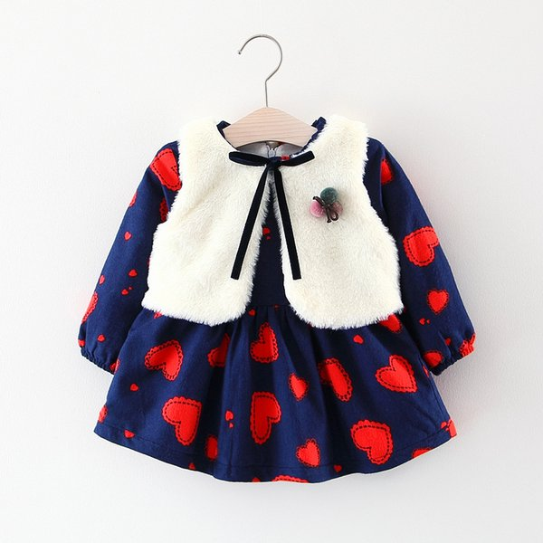 Children's Skirt Set Autumn and winter girls long sleeve love thick skirt and vest shawl two-piece suit