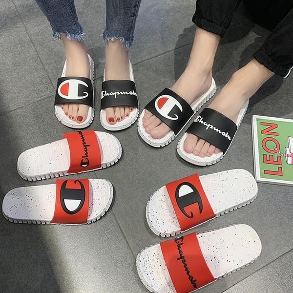 Mujeres Hombres Carta Sandalias de Verano Unisex Zapatillas Slip on Flip Flops Sandalias Playa Agua Mulas Zapatos AAA2229