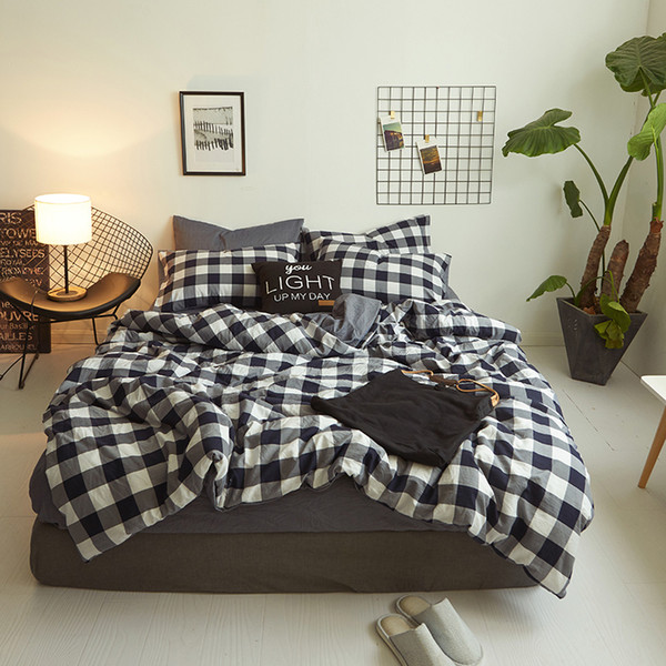 2019 New Product 4pc 100% polyester washed cotton plaid striped print bedding set duvet cover luxury sheet flat pillowcase