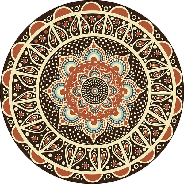 persian mandala pattern round carpet non-slip ethnic style bath mat soft fluffy velvet area rug for living room decor