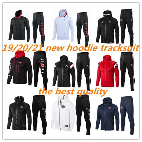 top popular PSG Paris hoodie soccer jacket 18 19 20 full zipper tracksuit football jacket MBAPPE champions Survêtement Jordam X psg hoodie training 2020