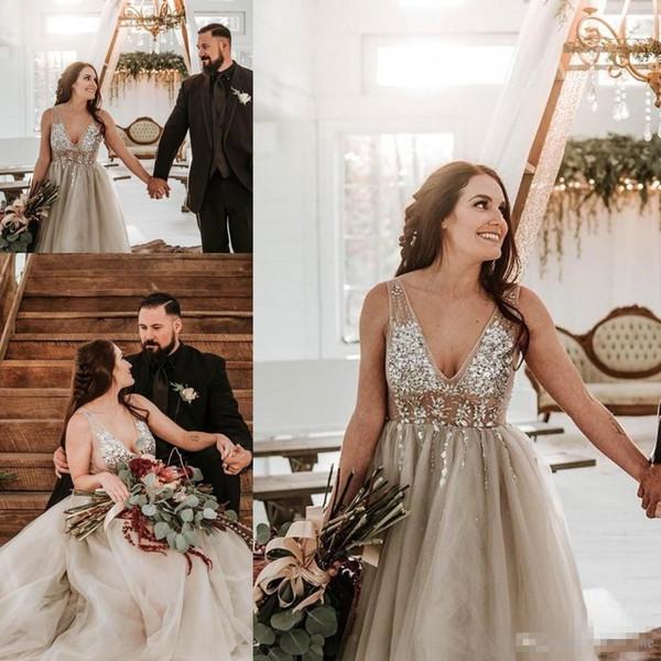 Summer Beach Wedding Dresses With Deep V Neck Beaded Sequins A Line Tullle Cheap Bridal Gowns Bohemia Wedding Dress Backless Vestidos