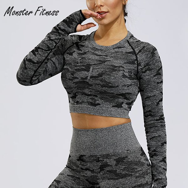 2012 camo yoga t-shirts gym seamless crop for women compression women's sport t shirt running shirt sweatshirt thumbnail