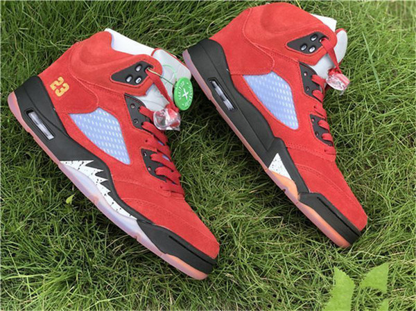 Hottest Trophy Room Air 5 JSP Black Red Suede 5S Basketball Shoes Family and Friend Ice Blue CI1899-400 Authentic Sneakers Size 7-13