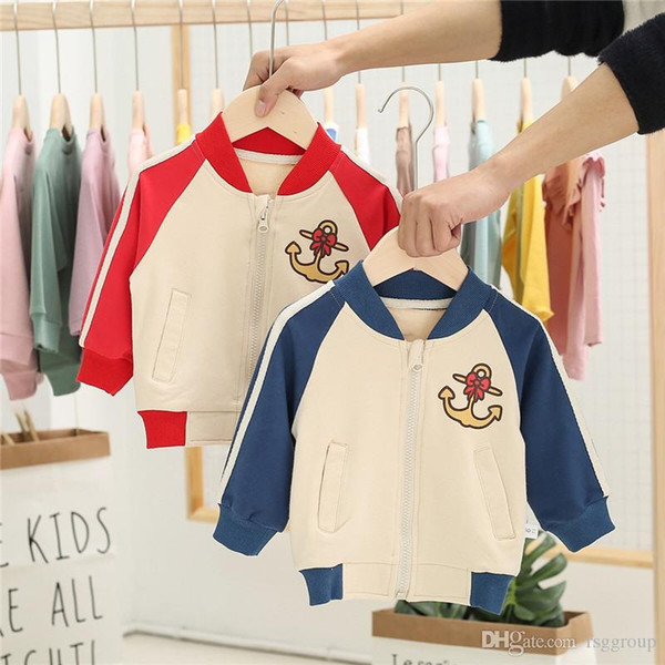 Newest INS Kids Boys Girls Baseball Jacket Sweatershirts Strips Stand Colar Cartoon Anchor Pirnting Long Sleeve Children Athletic Outwears