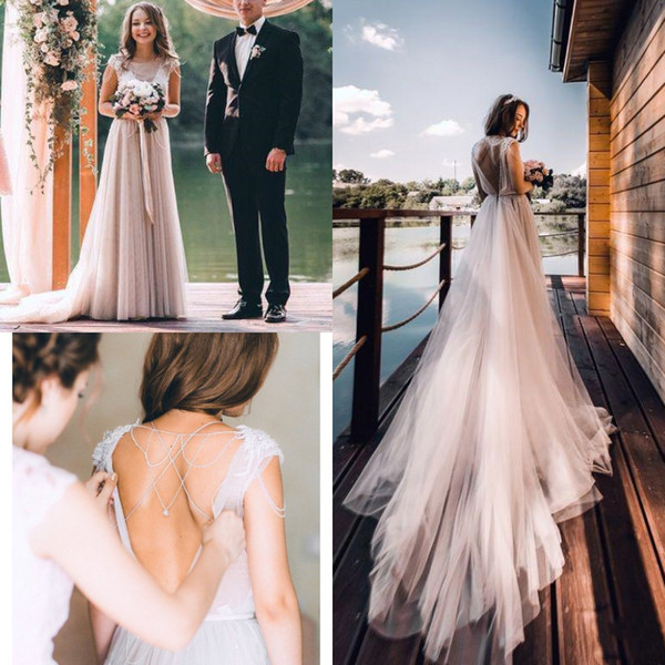 Sexy Backless Beach Boho Wedding Dresses A Line New 2019 Beading Pearls Tulle Bridal Gowns Sheer Neck Simple Cheap Country Wedding Dress