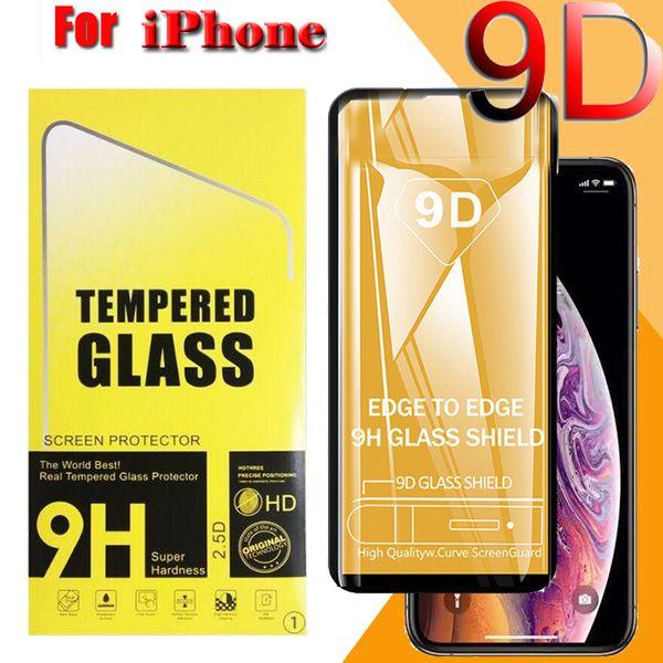 9D Tam Kapak Temperli Cam Kavisli Kenar Ekran Koruyucu Için iPhone 11 Pro Max XS X 8 7 6 6 S Artı Temizle Şeffaf Darbeye Paketi ile
