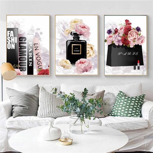 Kitap Parfüm Çiçek Paris Marka Nordic Posterler Ve Baskılar Duvar Sanatı Oturma Odası Dekor Için Tuval Boyama Dekorasyon Resimleri