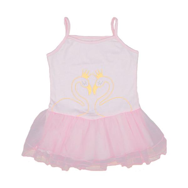 Детская одежда Платья для девочек Сладкий слинг Мультфильм платье принцессы Корона-лебедь Золотая сетка с принтом зерна 1