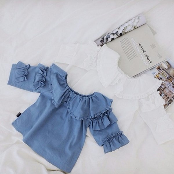 Nueva primavera verano niñas bebés blusa volantes Peter Pan Collar Kids Princess Tops niños camisa de algodón Bloluses azul blanco 4565