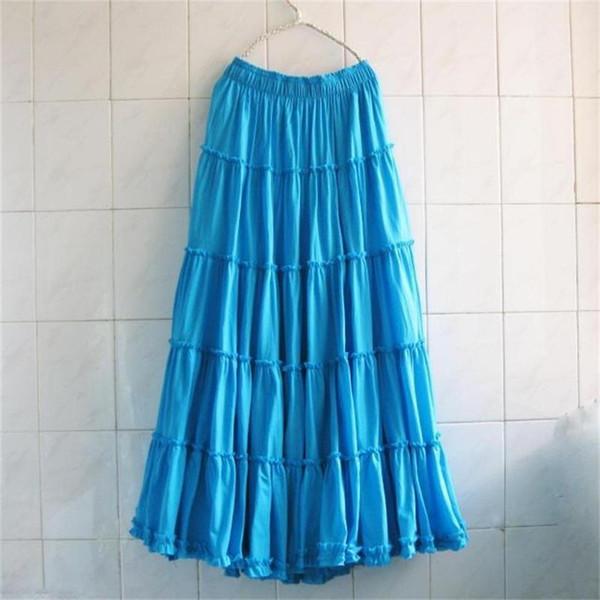 2019 Bohemia Women Long Beach Skirts Plus Size Summer Girls Ruffles Beach Skirt Ladies Cotton Skirts Female Solid Casual Skirt Y19060301