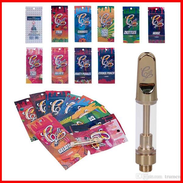 Cali Plug Carts 1.0 ml 1 cartucho de cerámica de bobina de oro Vape con bolsa de embalaje holográfica VS Dank Vape DHL gratuito