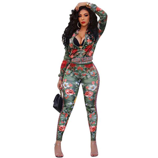 Floral print women jacket leggings tracksuit crop top pant 2 piece set outfits clothes sweatsuit coat tights sportswear jogger suit DHL
