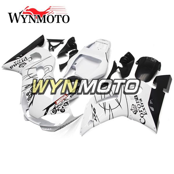 ABS Fundas de bicicleta de inyección para Yamaha YZF-600 R6 Año 1998 99 00 01 2002 Kit completo de carenado Corona de plástico Negro Blanco Cubierta