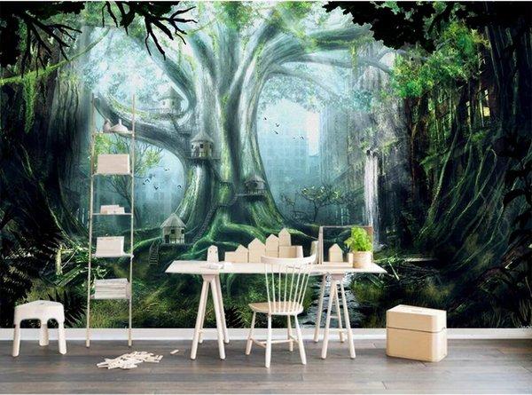 Papel tapiz 3D foto mural personalizado Maderas verdes guiño 3D paisaje TV fondo de la pared decoración para el hogar arte de la pared fotos papel tapiz para paredes 3 d