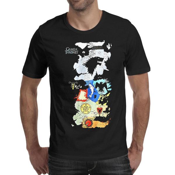 T-Shirt dos homens-Game Of Thrones Mapa de Todas As Casas Casuais Ativa de Manga Curta Crewneck Algodão Tees