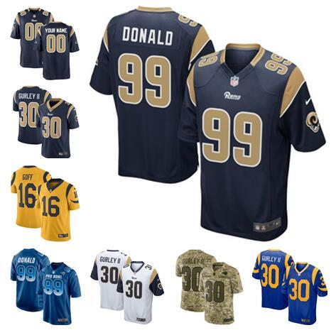 buy online 7737b 1e1e5 2019 American Football Jerseys Rams Todd Gurley II Jared Goff Aaron Donald  Cooks Custom Jersey Womens Mens Youth Kids Camo 4xl Color Rush Sew From ...