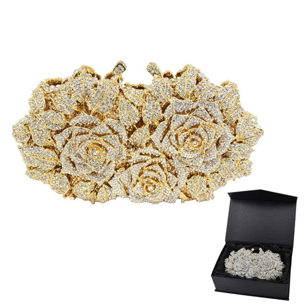 Gold Silver Evening Bag Rose Flower Holiday Party Clutch Purse Crystal Bag Stylish Day Clutches Prom Ladies Handbag Sc427 Y19061903