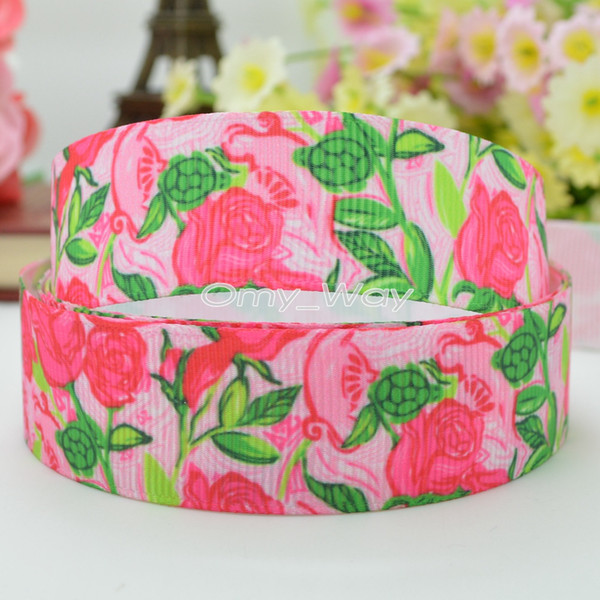 "Lilly Ribbons 7/8"" 22mm Flowers Printed Grosgrain Ribbon Hair Bow DIY Handmade Crafts Ribbon Print 50Yards C-2212"