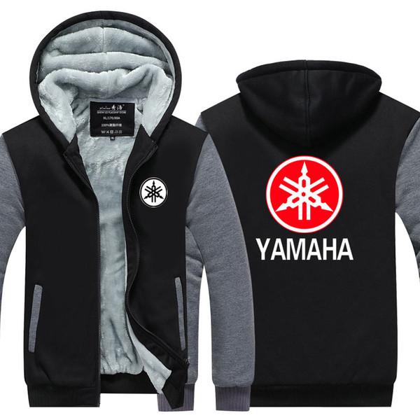Мужчины случайные утолщаются с капюшоном кофты новый YAMAHA мотор логотип печати хлопок молнии толстовки зима кардиган куртка пальто пуловер США размер ЕС