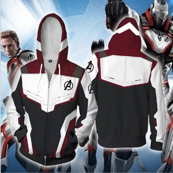 Marvel The Avengers 4 Endgame Quantum Realm Cosplay Costume Hoodies Men Hooded Avengers Zipper End Game Sweatshirt Jacket SH190706