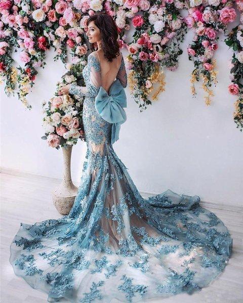 2020 Sheer Long Sleeves Mermaid Prom Dresses Backless Bow Evening Dress Full Lace Applique Beaded Celebrity Maxi Dress Vestidos De Soiree