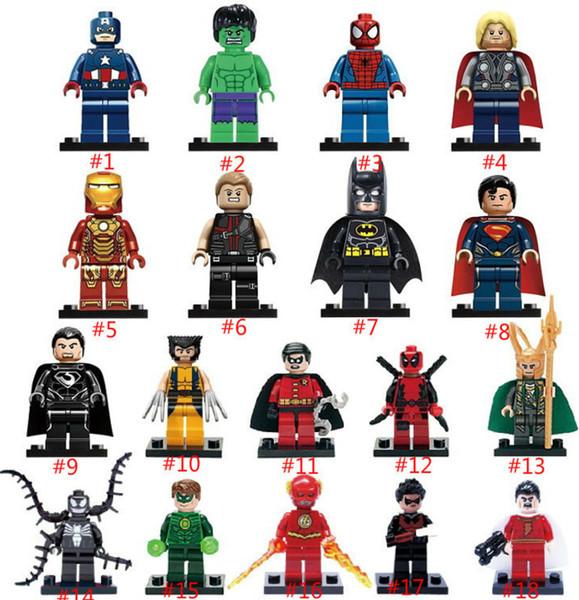 18 pçs / lote super heróis os vingadores marvel homem de ferro hulk batman wolverine thor blocos de construção define kaws mini figura bricks diy brinquedos