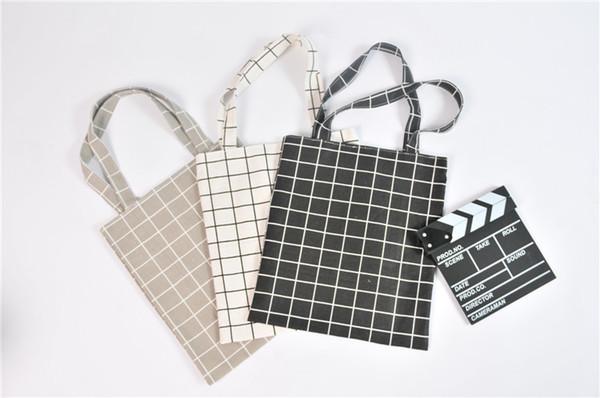 Cheap Canvas Tote Bag Casual Beach HandBag Eco Shopping Bag Daily Use Foldable Canvas Shoulder Bag Plaid Canvas Tote for Women Female