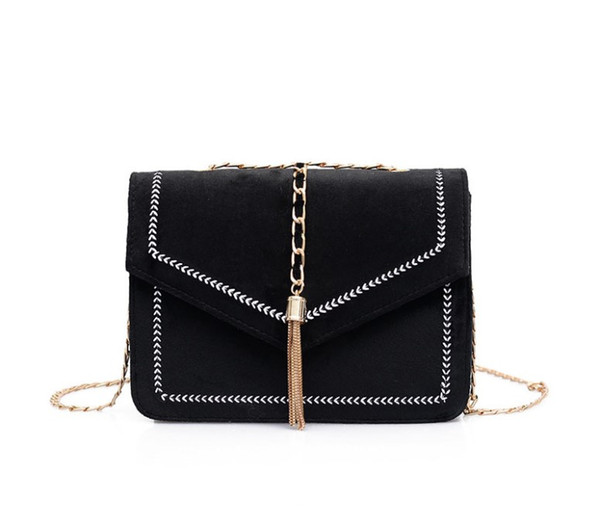 British Fashion Simple Small Square bag Women's Designer Handbag 2018 Flannel Hairy leather Rivet Tassel Chain Shoulder bags