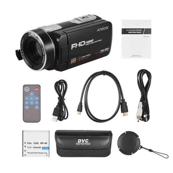 Andoer Portable FHD 1080P Digitale Videokamera Camcorder DV-Recorder 16X Digitalzoom mit Akku-Fernbedienung