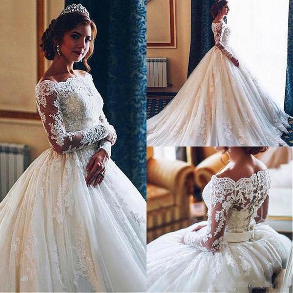 Long Sleeve Ball Gown Wedding Dresses 2019 Modest Plus Size Bateau Lace  Beaded Dubai Arabic Caftan Bridal Church Garden Wedding Gown Alternative ...