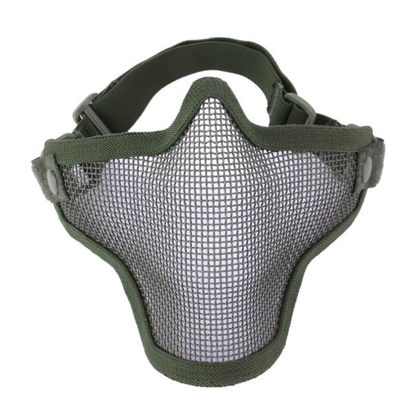 Masque de protection tactique Gofuly de chasse au filet métallique en acier de demi-visage inférieur