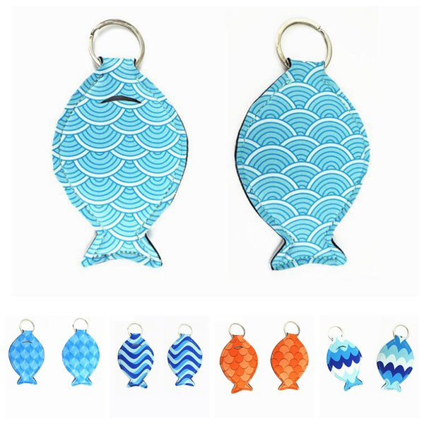 Fisch form Neopren chapstick holder keychain Mädchen Schlüsselanhänger Kreative Mini Lipgloss Pouch Bag Party Favor Frauen Geschenke FFA2044