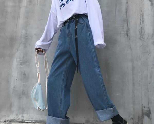Fall 2019 hot style restoring ancient ways South Korea torre pants easy leisure wide-legged hipster jeans trousers for men and women
