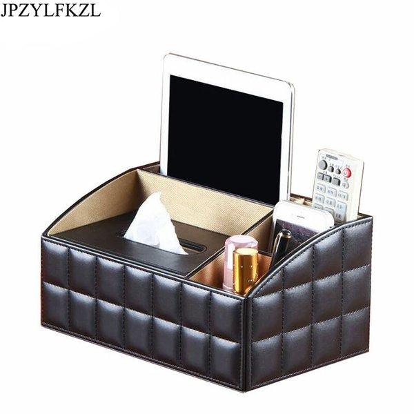 PU Leather Removable Luxury Office Tissue Box Napkin Holder Desktop Storage Box Cosmetics Jewelry Remote Control