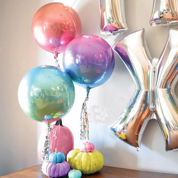 22 Polegada Gradiente Cor 4D Hélio Balão 11 Cores Rodada Balões De Folha de Hélio Festa de Casamento de Aniversário Decoração Foto Adereços
