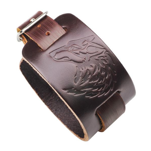 Bracelets Bijoux Vintage Unisexe Mode Haute Qualité En Cuir Véritable Tête de Loup Emboss Punk Rock Charme Bracelets En Gros LBR006