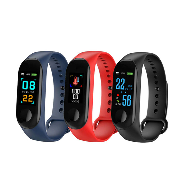 top popular Fitness Bracelet Blood Pressure Outdoor IPS Screen Heart Rate Monitor Life Waterproof Smart M3 Wristbands PK Mi Band 3 2020
