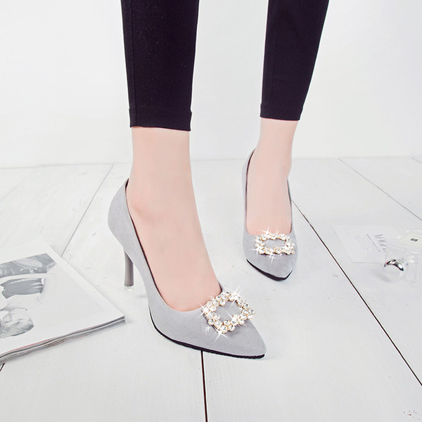 Summer Tip Fine-heeled Women's Shoes, Single Shoes, Water Drill, Square Button High-heeled Wedding Shoes, Black Working Shoes